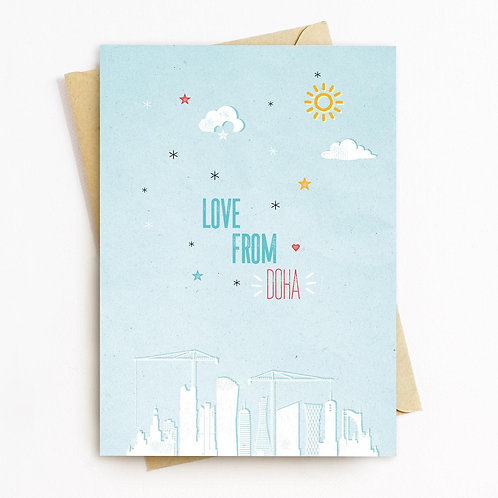 Love From Doha Greeting Card - Blank Inside