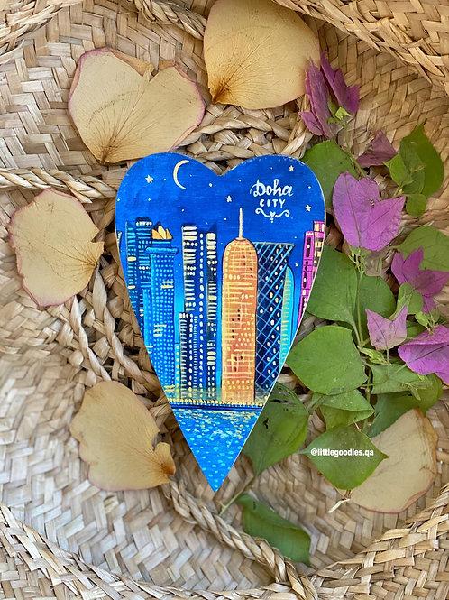 Qatar Heart Shaped Magnets In Doha Night