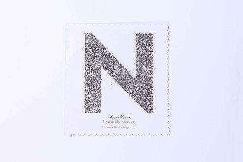 Letter N Chunky Gold Sticker