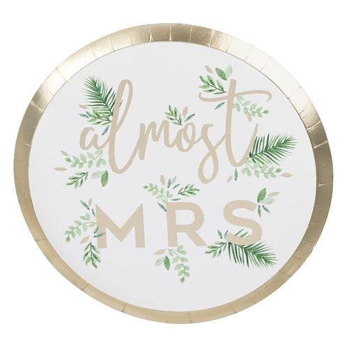 Almost Mrs. Floral Party Plates - 8 Pieces