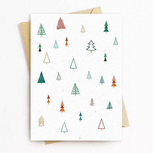 White Christmas Tree Greeting Card - Blank Inside