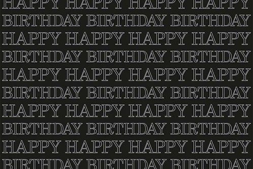 Happy Birthday In Black Wrapping Paper - 50*70CM