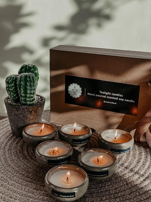 Tea Light Scented Candles - Set Of 6 Cups