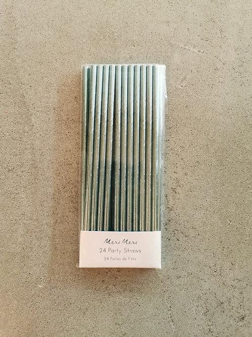Aqua Metallic Paper Straw