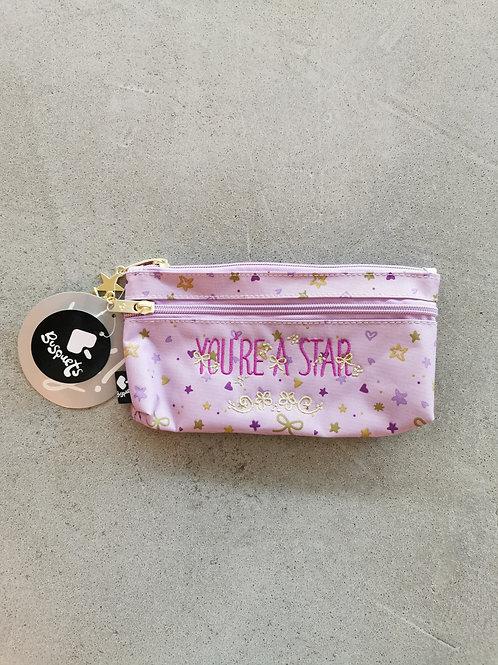 You're  A Star Double Zip Pencil Case - Size: 21x10x5cm