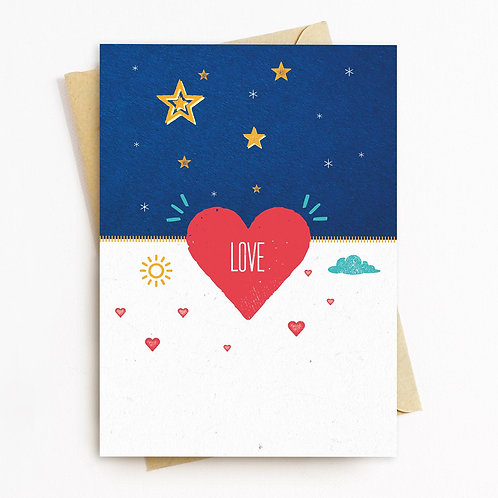 Love In Red Greeting Card - Blank Inside