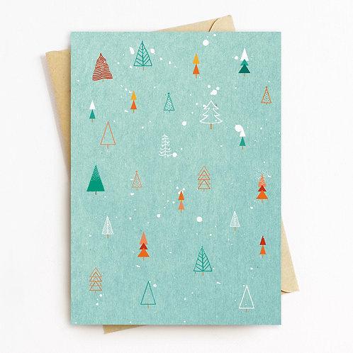 Mint Christmas Tree Greeting Card- PLain Inside