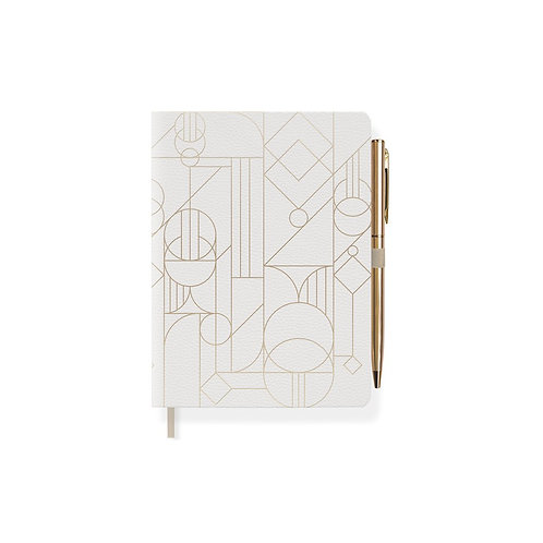 Deco Shapes Leather A6 Lined Journal With Attached Pen - 160 Pages