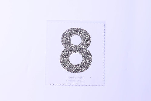 Number 8 Chunky Gold Sticker