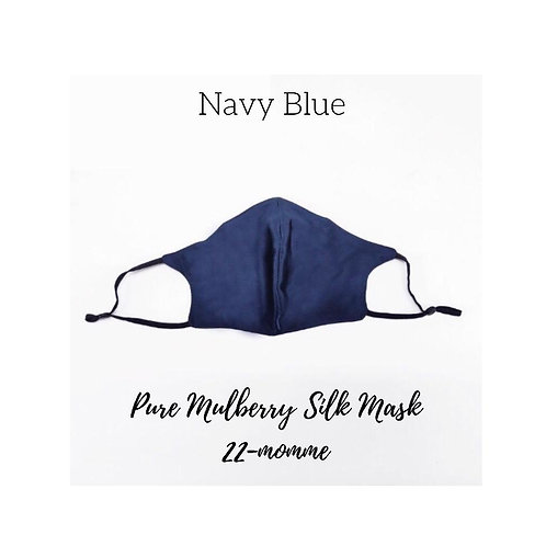 Navy Blue Pure Mulberry Silk Facemask Mask With 3 Complimentary Filters