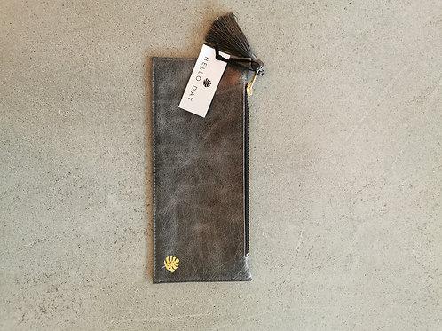 Grey Luxury Italian Leather Pencil Case With Tassel
