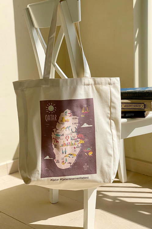 Qatar Map Tote Bag