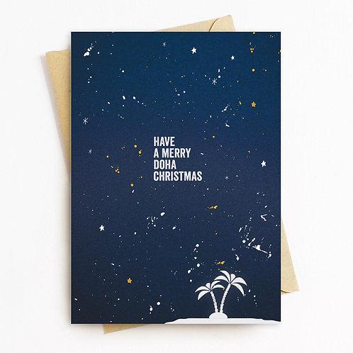Merry Doha Christmas Greeting Card - Blank Inside