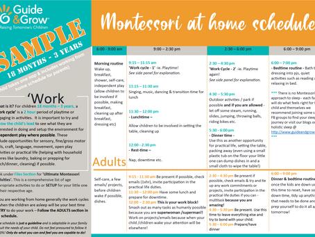 Montessori at Home SAMPLE Schedule