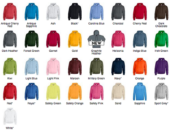 Gildan Heavyblend Hooded Sweatshirt - £11 Inc Vat (30 Colours Available)