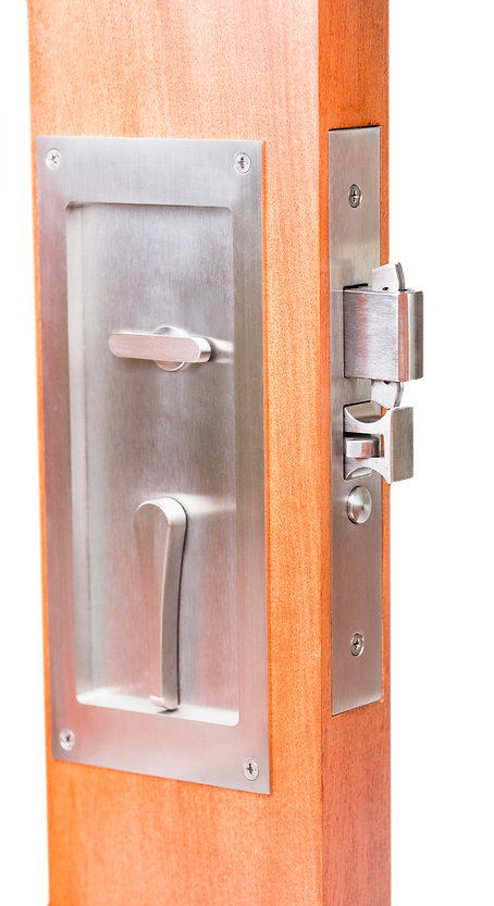Edge Pull Function SL9100 Self Latching Sliding Pocket Door Lock With  Emergency Egress