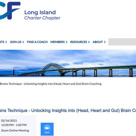 ICF Long Island: Unlocking insights into (Head, Heart and Gut) Brain coaching