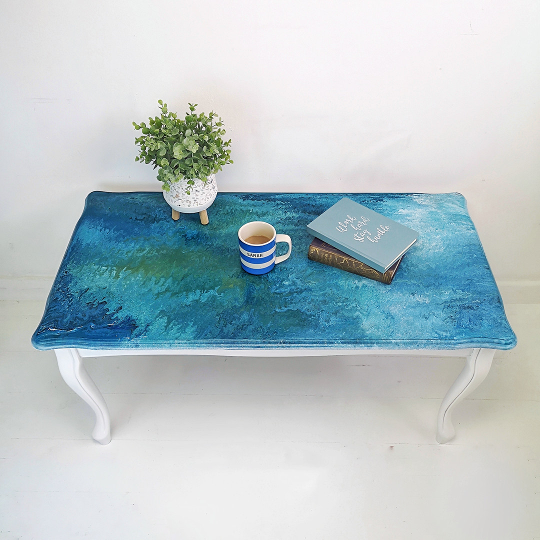 Paint Pour Coffee Table