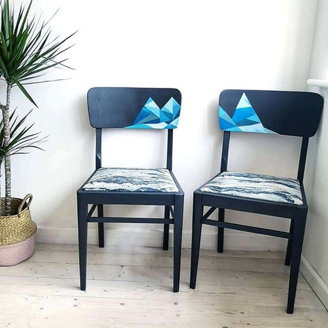 The Wavey One- geometric design and reupholstered seats.