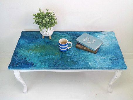 Paint Pouring Furniture Art
