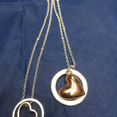 Rose gold plated heart in silver hoop necklace