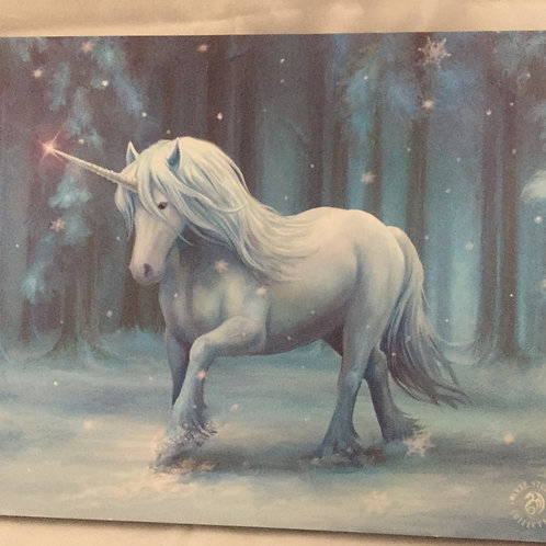 Winter Unicorn by Anne Stokes (Canvas Print)