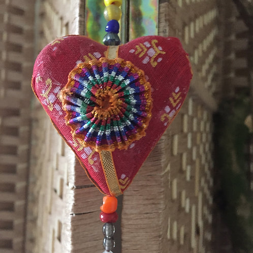 Multi-coloured Hanging Hearts with Bell