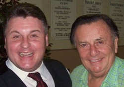 Actor Michael Walters with Barry Humphries, creator of Dame Edna Everage