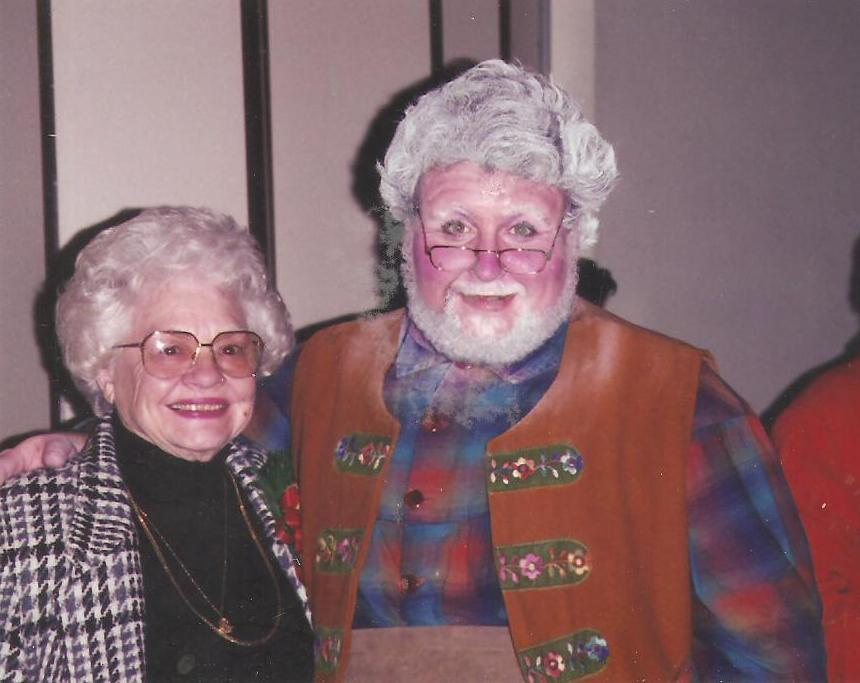 Actor Michael Walters as The Toymaker in Babes in Toyland, 1993, pictured with his grandmother, Wilm
