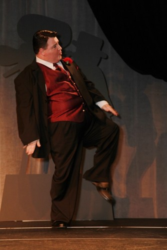 Michael Walters as JACKIE GLEASON dances on stage at the Jackie Gleason Theater, Miami