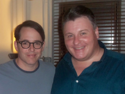 Actor Michael Walters backstage with Matthew Broderick