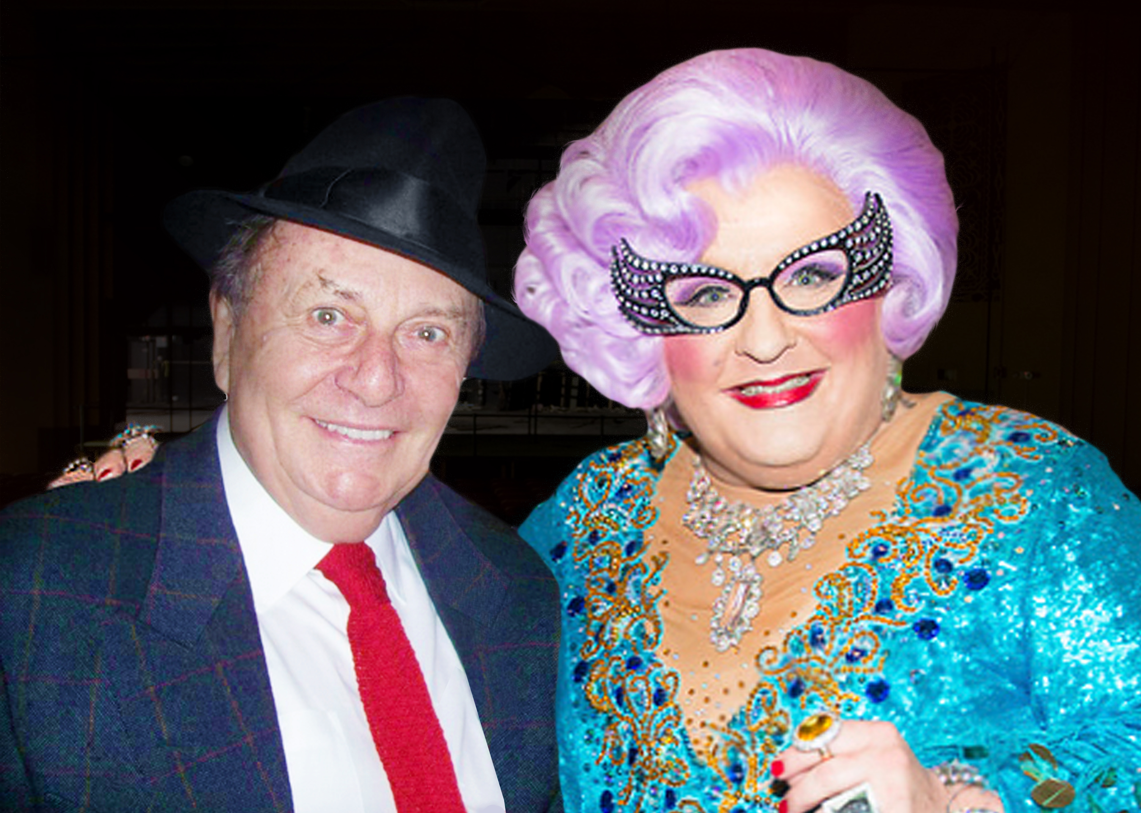Caption- Dame Edna's Creator Barry Humphries with Michael Walters as Dame Edna
