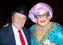 Actor Michael Walters as Dame Edna Everage with the character's creator, Barry Humphries