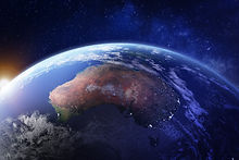 Australia from space at night with city