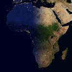 City lights on world map. Africa. Elemen