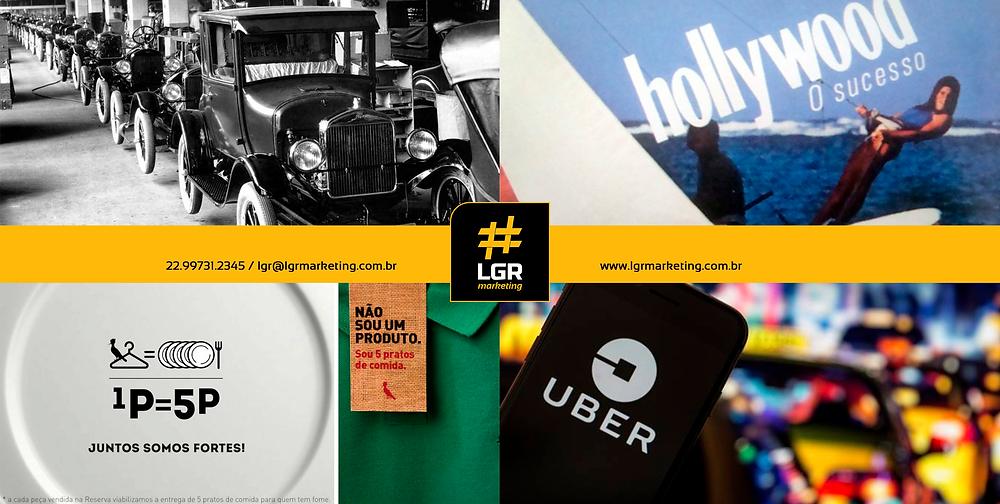 Imagem representado as 4 fases da evolução do marketing: uma do Ford T, uma do cigarro Hollywood, uma da marca reserva e uma do Uber.