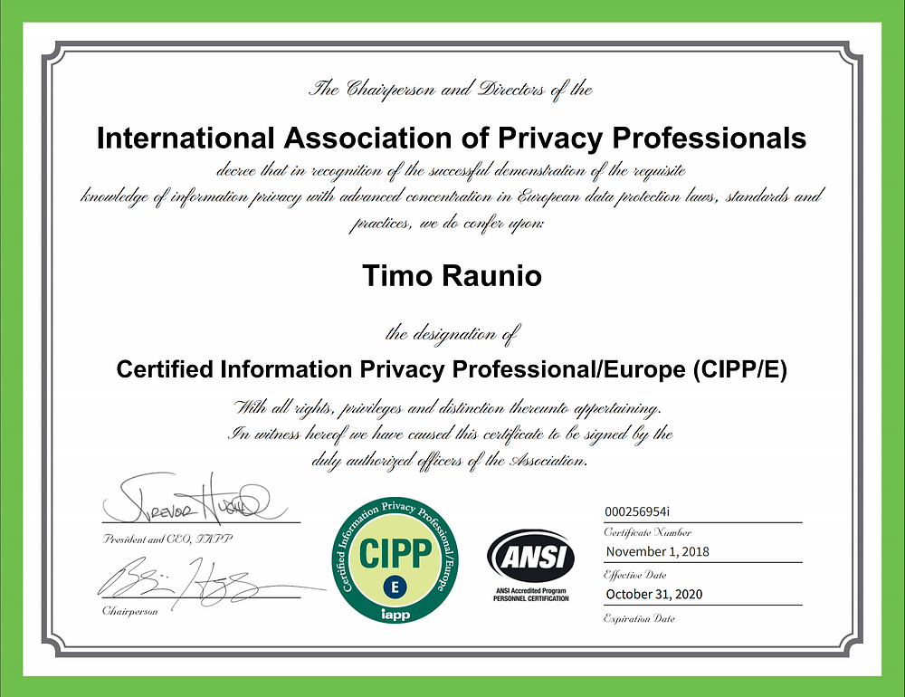 certification gdpr cipp raunio timo oy earned ceo