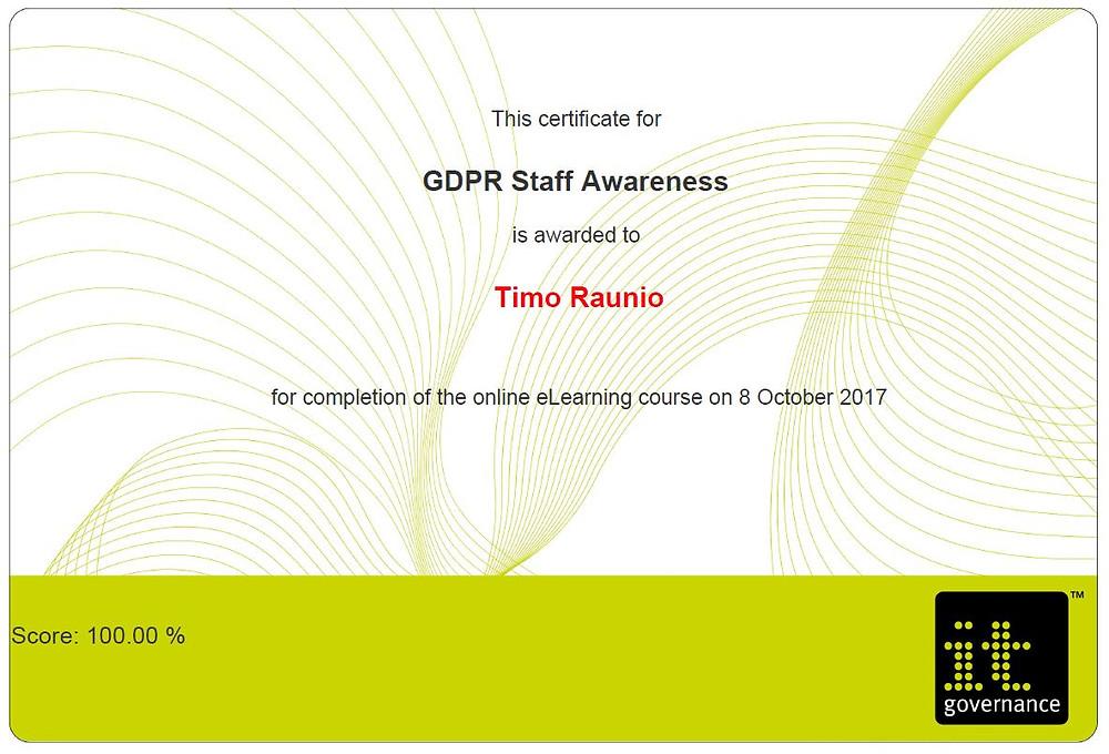 GDPR Staff Awareness sertifikaatti