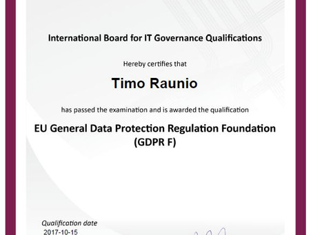 GDPR F, EU General data Protection Regulation Foundation tietosuoja-sertifikaatti Softmanille