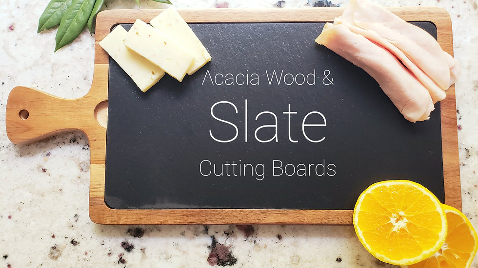 "16"" x 7 3/4"" Acacia Wood/Slate Cutting Board"