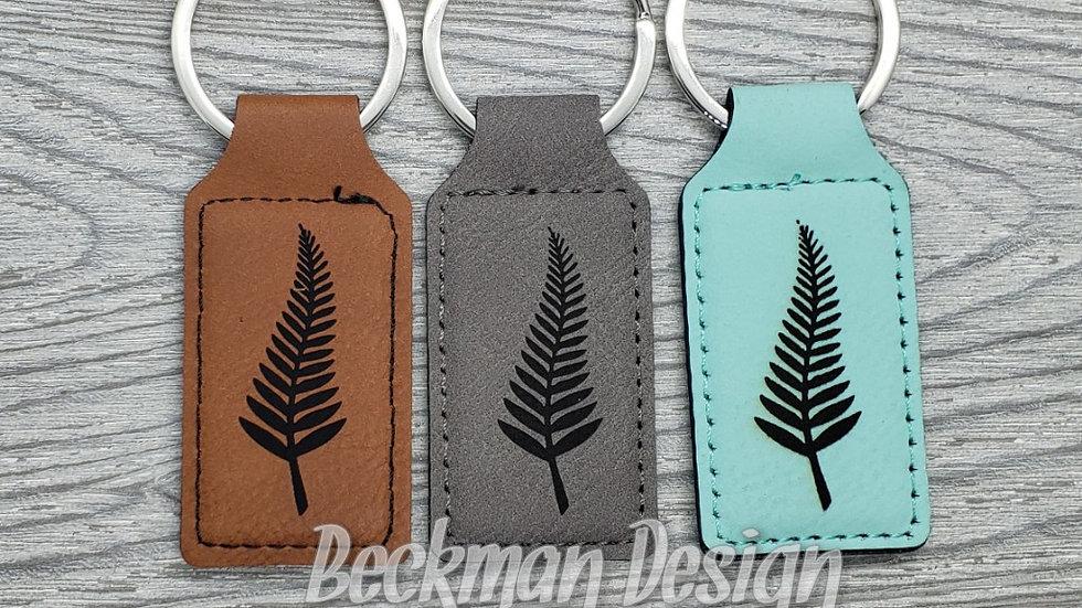Fern- Leather Keychain