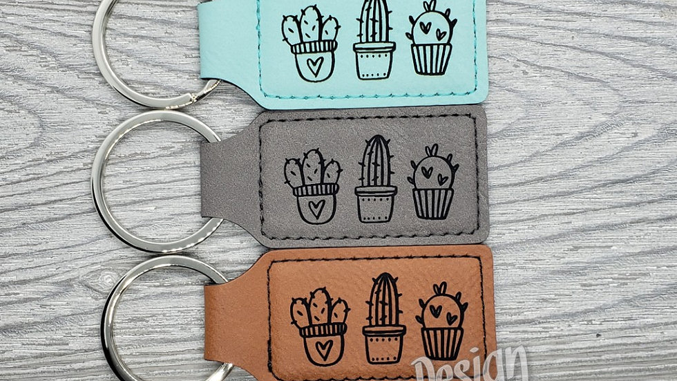 Cute Cactus- Leather Keychain