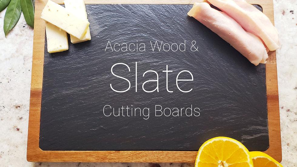 """13"""" x 9"""" Acacia Wood/Slate Cutting Board"""