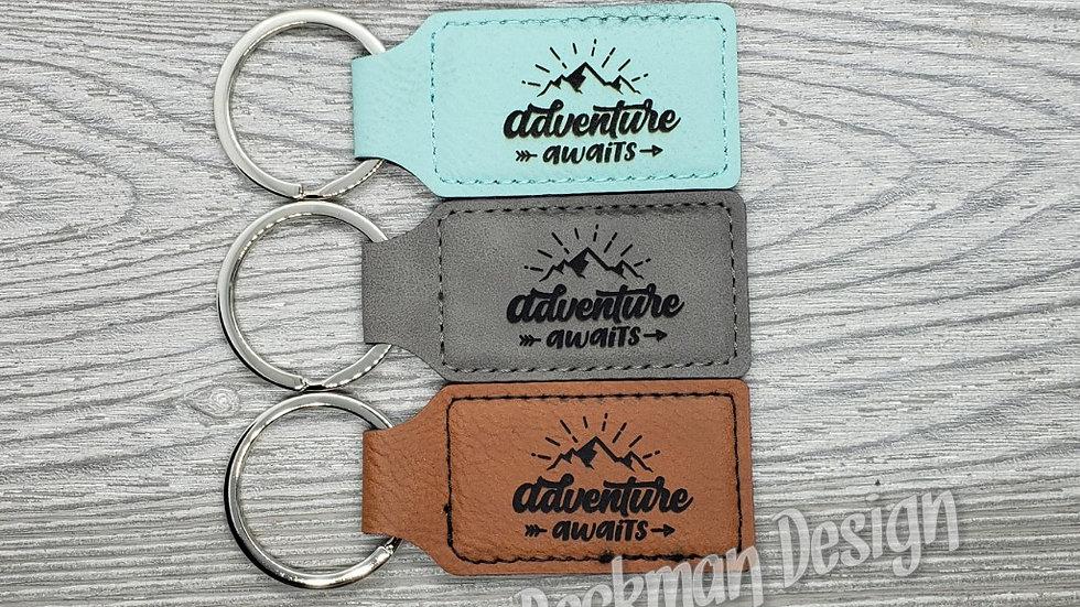Adventure Awaits- Leather Keychain