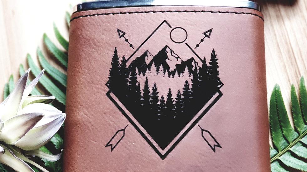 Geometric Mountains Flask- Leather or Powder coat finish