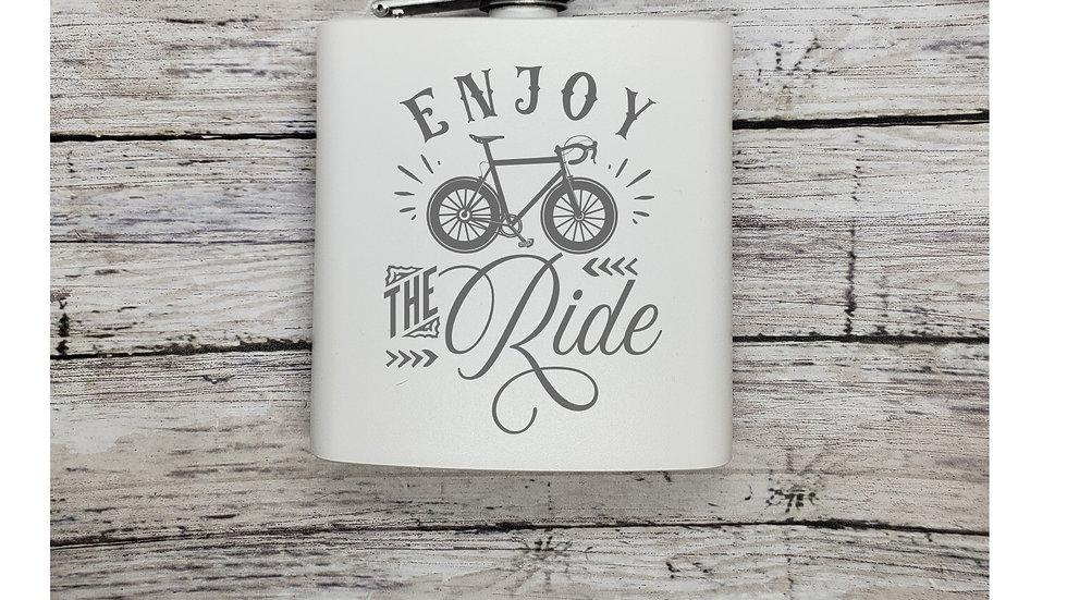 Bike Enjoy the Ride FLASK- Leather or Powder coat finish