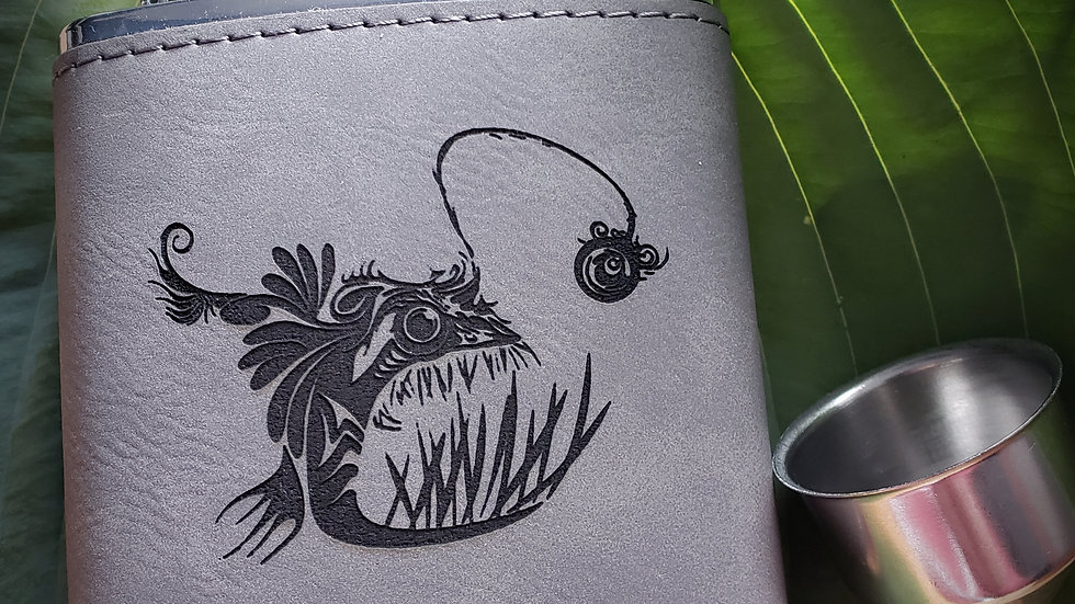 Angler Fish FLASK- Leather or Powder coat finish