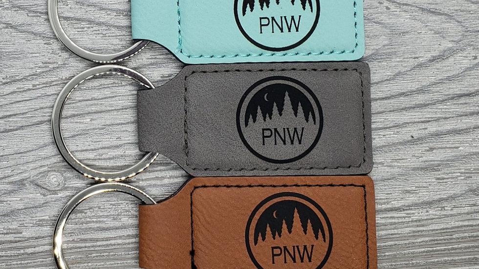 PNW- Leather Keychain