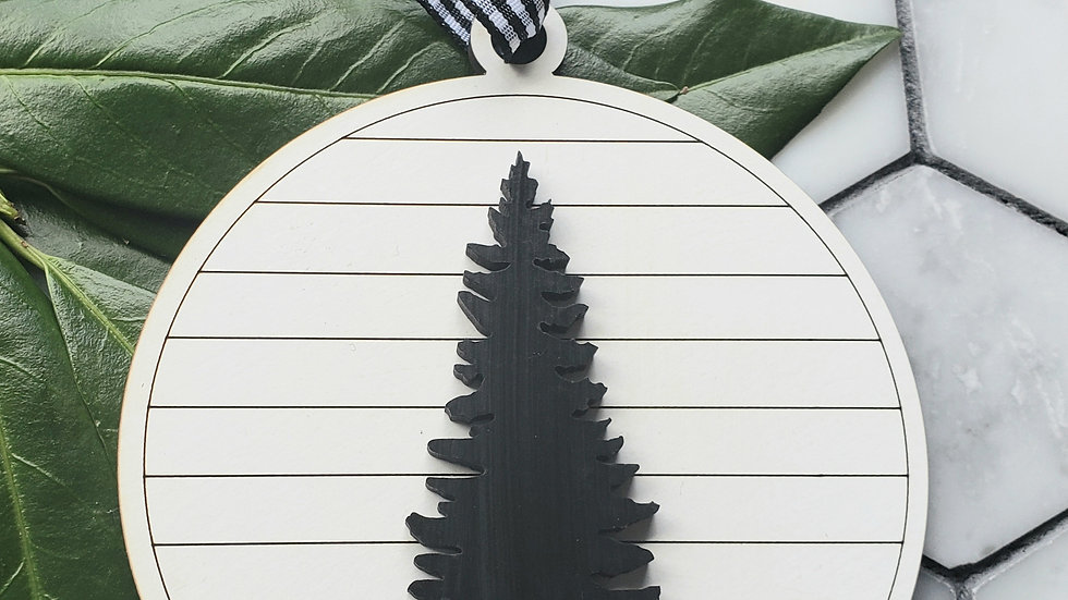 Shiplap with evergreen tree- ornament