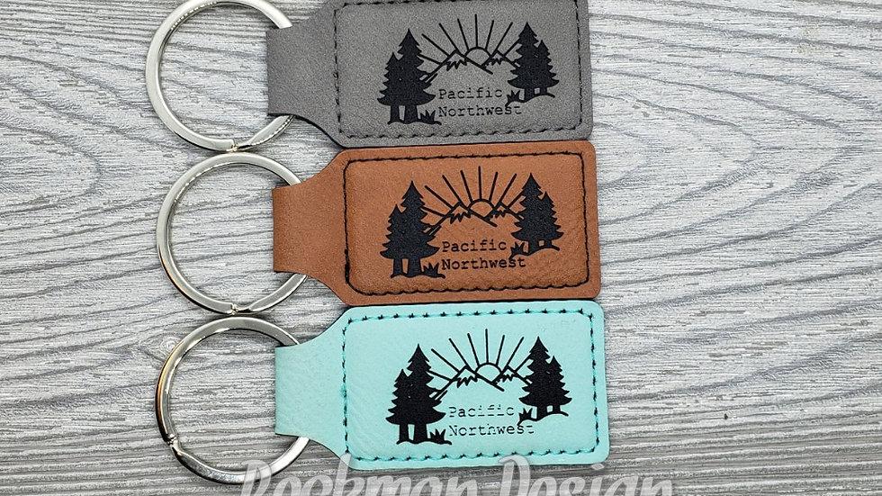 Pacific Northwest- Leather Keychain